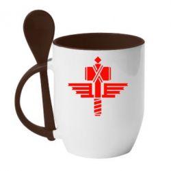 Кружка с керамической ложкой Manowar Logo - FatLine