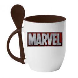 Кружка с керамической ложкой Marvel 3D - FatLine