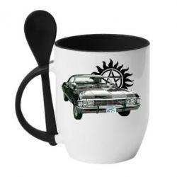 Кружка с керамической ложкой Машина Винчестеров - FatLine