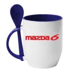Кружка с керамической ложкой Mazda 6 - FatLine