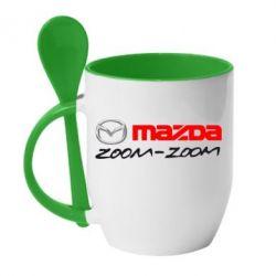 Кружка с керамической ложкой Mazda Zoom-Zoom - FatLine