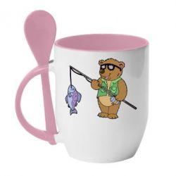 Кружка с керамической ложкой Медведь ловит рыбу - FatLine