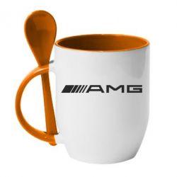 Кружка с керамической ложкой Mercedes-AMG - FatLine
