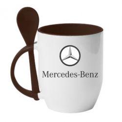 Кружка с керамической ложкой Mercedes-Benz Logo - FatLine