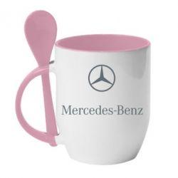 Кружка с керамической ложкой Mercedes Benz logo - FatLine