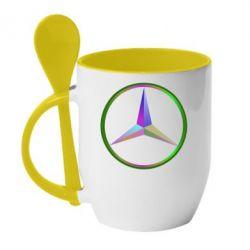 Кружка с керамической ложкой Mercedes Logo Art - FatLine
