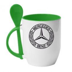 Кружка с керамической ложкой Mercedes Logo - FatLine