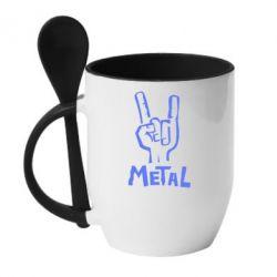 Кружка с керамической ложкой Metal - FatLine