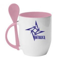 Кружка с керамической ложкой Metallica Logotype - FatLine