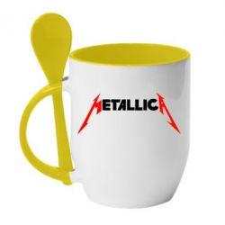 Кружка с керамической ложкой Металлика - FatLine