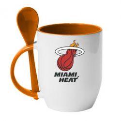 Кружка с керамической ложкой Miami Heat - FatLine