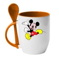 Кружка с керамической ложкой Микки Маус - FatLine