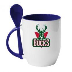 Кружка с керамической ложкой Milwaukee Bucks - FatLine