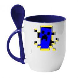 Кружка с керамической ложкой Minecraft 3D - FatLine