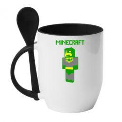 Кружка с керамической ложкой Minecraft Batman - FatLine