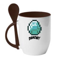 Кружка с керамической ложкой Minecraft Diamond! - FatLine