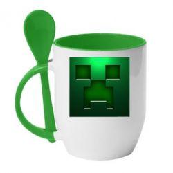 Кружка с керамической ложкой Minecraft Face - FatLine