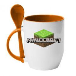 Кружка с керамической ложкой Minecraft Land - FatLine