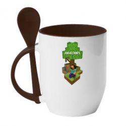 Кружка с керамической ложкой Minecraft Steve - FatLine