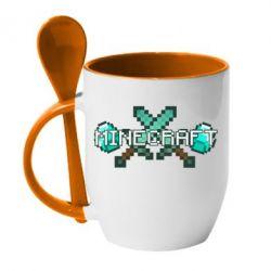 Кружка с керамической ложкой Minecraft - FatLine