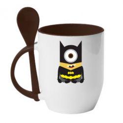Кружка с керамической ложкой Minion Batman - FatLine