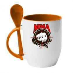 Кружка с керамической ложкой MMA Spot - FatLine