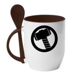 Кружка с керамической ложкой Молот Тора - FatLine