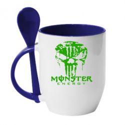 Кружка с керамической ложкой Monster Energy Череп - FatLine