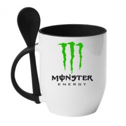 Кружка с керамической ложкой Monster Energy Classic - FatLine