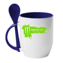 Кружка с керамической ложкой Monster Energy Drink - FatLine