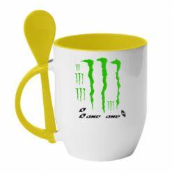 Кружка с керамической ложкой Monster One - FatLine