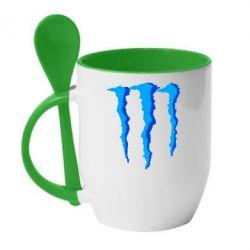 Кружка с керамической ложкой Monster Stripes - FatLine