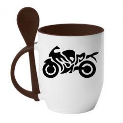 Кружка с керамической ложкой MOTO SPORT - FatLine