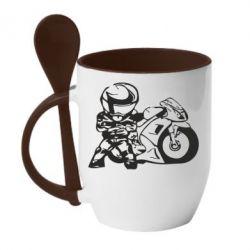 Кружка с керамической ложкой Мотоциклист - FatLine