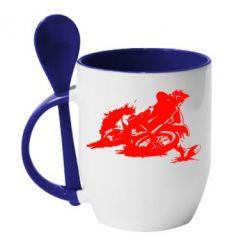 Кружка с керамической ложкой Мотокросс лого - FatLine