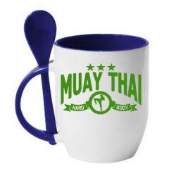 Кружка с керамической ложкой Muay Thai Hard Body - FatLine