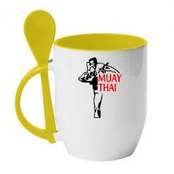 Кружка с керамической ложкой Muay Thai kick - FatLine