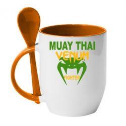 Кружка с керамической ложкой Muay Thai Venum Fighter - FatLine