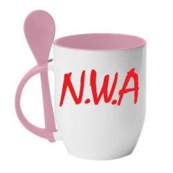 Кружка с керамической ложкой N.W.A Logo - FatLine