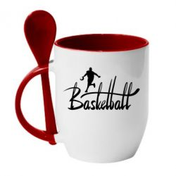 Кружка с керамической ложкой Надпись Баскетбол - FatLine