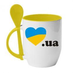 Кружка с керамической ложкой Народився в Україні - FatLine