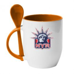 Кружка с керамической ложкой New York Rangers - FatLine