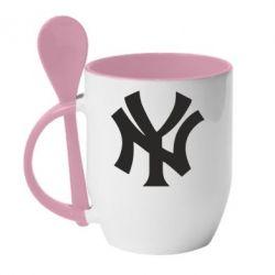 Кружка с керамической ложкой New York yankees - FatLine