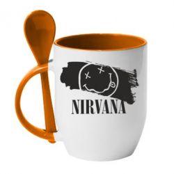 Кружка с керамической ложкой Nirvana Smile - FatLine