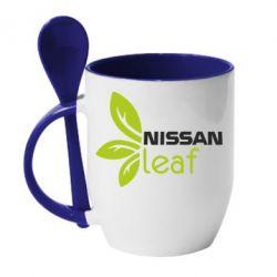 Кружка с керамической ложкой Nissa Leaf - FatLine