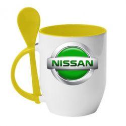 Кружка с керамической ложкой Nissan Green - FatLine
