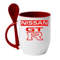 Кружка с керамической ложкой Nissan GT-R - FatLine