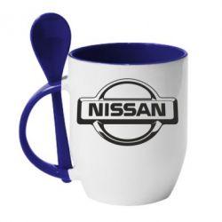 Кружка с керамической ложкой Nissan Logo - FatLine