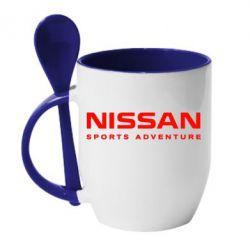 Кружка с керамической ложкой Nissan Sport Adventure - FatLine