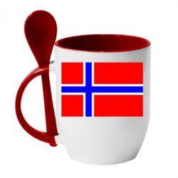 Кружка с керамической ложкой Норвегия - FatLine